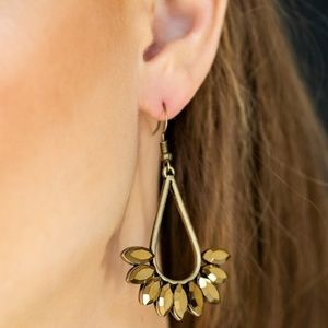 Aurum Rhinestone Antiqued Brass Fishhook Earrings